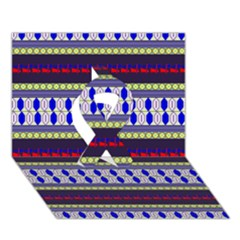 Colorful Retro Geometric Pattern Ribbon 3d Greeting Card (7x5)