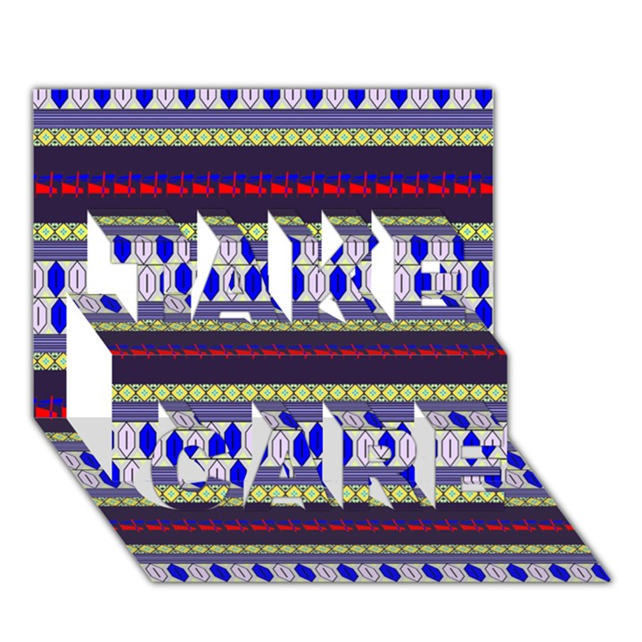 Colorful Retro Geometric Pattern TAKE CARE 3D Greeting Card (7x5)