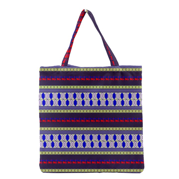 Colorful Retro Geometric Pattern Grocery Tote Bag