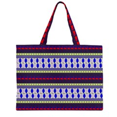 Colorful Retro Geometric Pattern Zipper Large Tote Bag