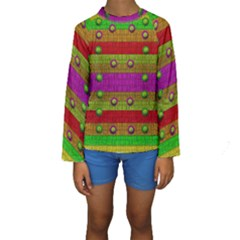 A Wonderful Rainbow And Stars Kids  Long Sleeve Swimwear