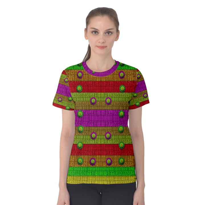 A Wonderful Rainbow And Stars Women s Cotton Tee