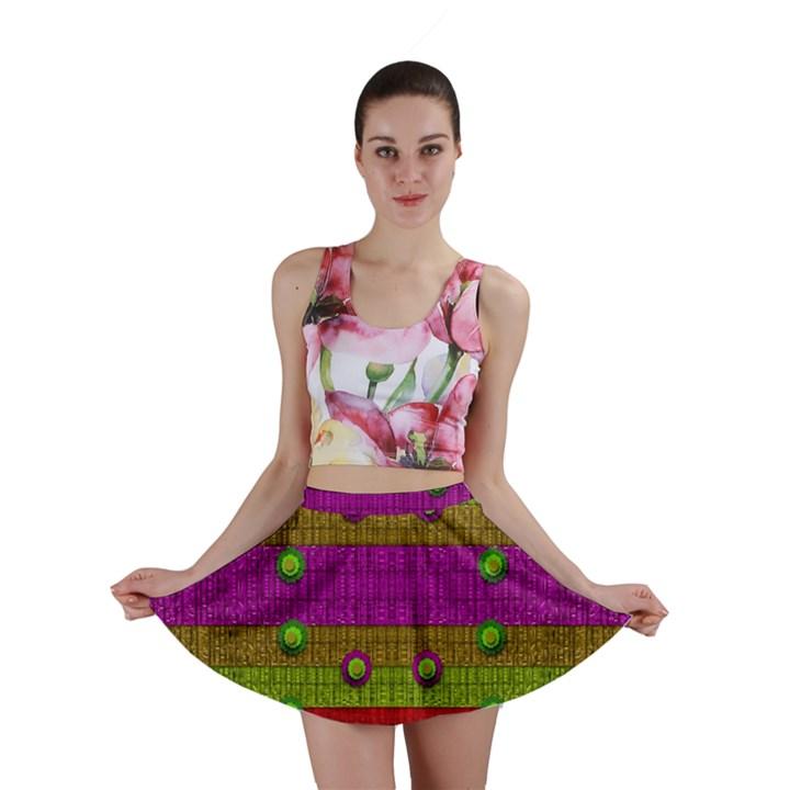 A Wonderful Rainbow And Stars Mini Skirt