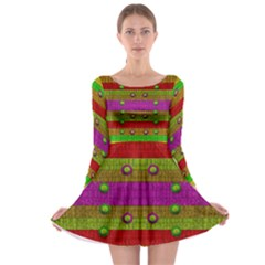 A Wonderful Rainbow And Stars Long Sleeve Skater Dress