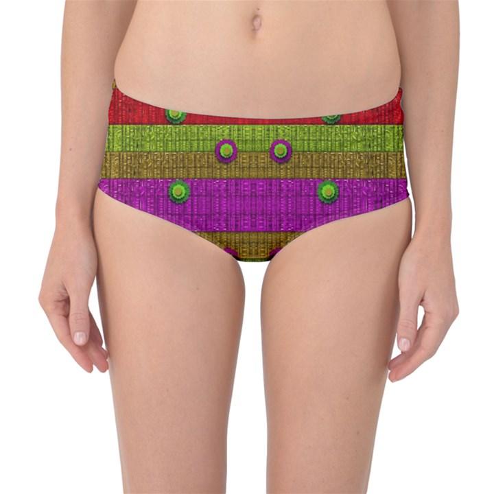 A Wonderful Rainbow And Stars Mid-Waist Bikini Bottoms