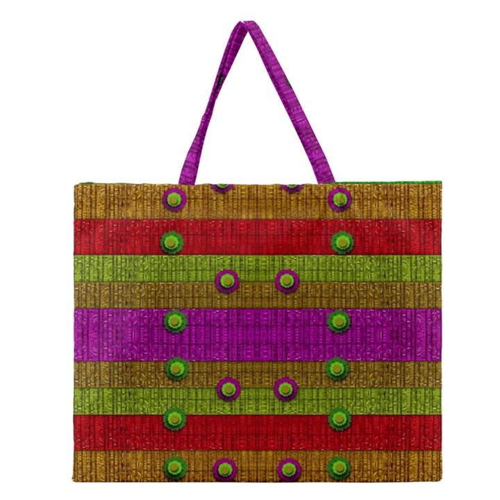 A Wonderful Rainbow And Stars Zipper Large Tote Bag