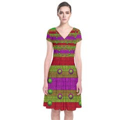 A Wonderful Rainbow And Stars Short Sleeve Front Wrap Dress