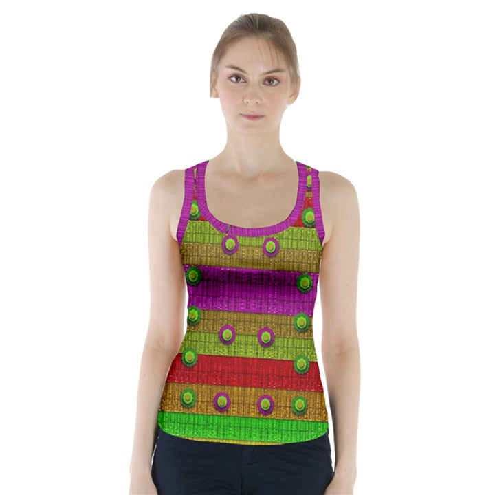 A Wonderful Rainbow And Stars Racer Back Sports Top