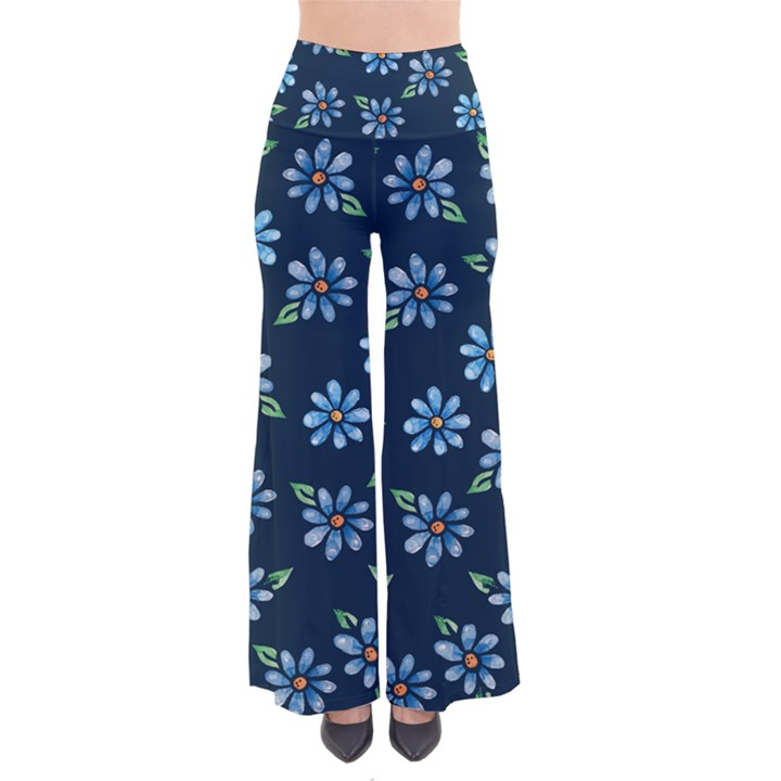 Retro Blue Daisy Flowers Pattern Women s Chic Palazzo Pants