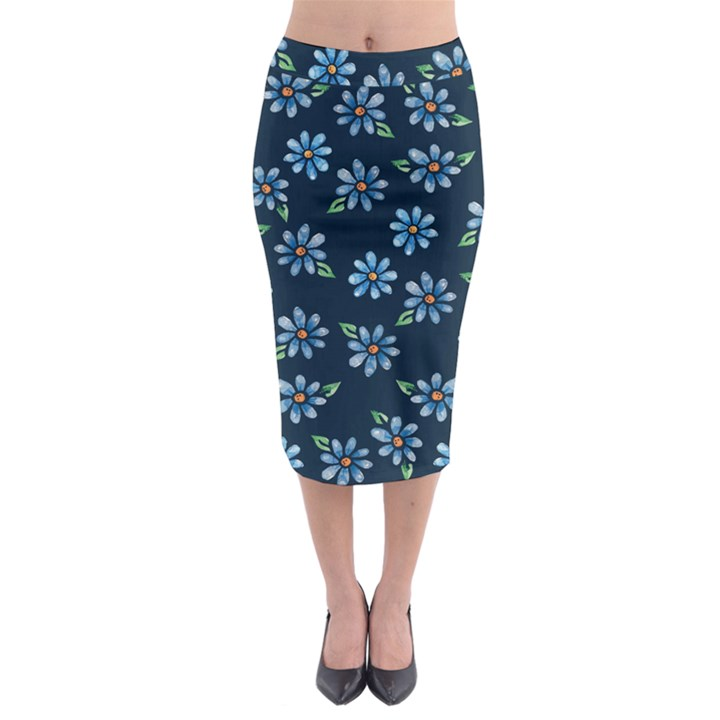 Retro Blue Daisy Flowers Pattern Midi Pencil Skirt