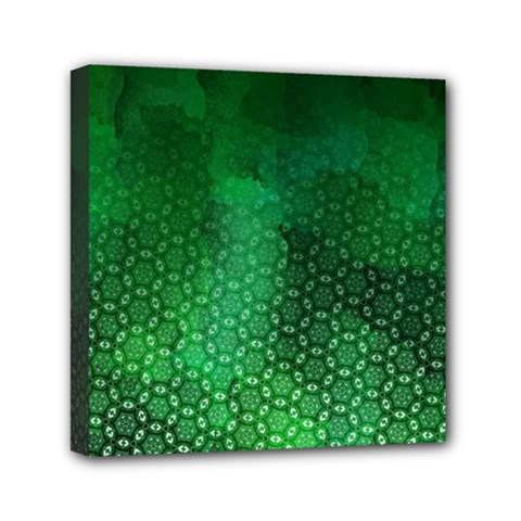 Ombre Green Abstract Forest Mini Canvas 6  X 6  by DanaeStudio