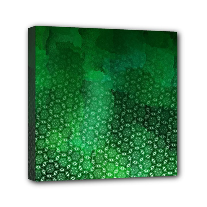 Ombre Green Abstract Forest Mini Canvas 6  x 6