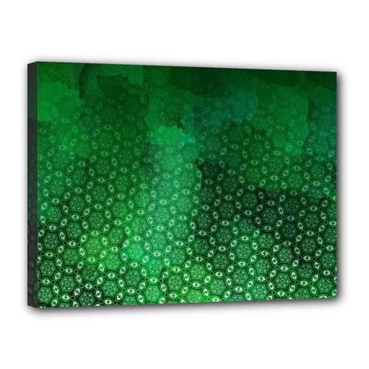 Ombre Green Abstract Forest Canvas 16  x 12