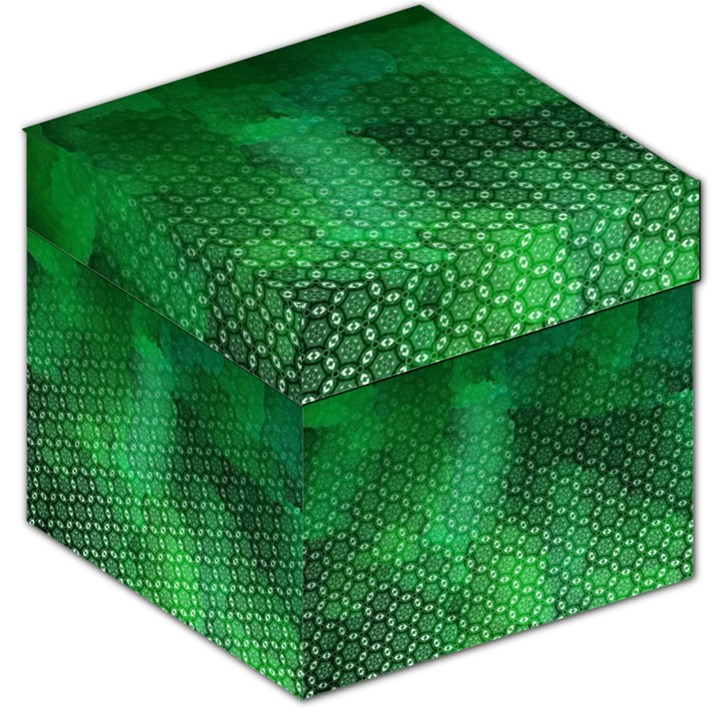 Ombre Green Abstract Forest Storage Stool 12