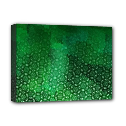 Ombre Green Abstract Forest Deluxe Canvas 16  X 12   by DanaeStudio