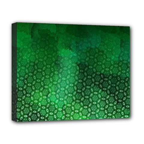 Ombre Green Abstract Forest Deluxe Canvas 20  X 16   by DanaeStudio