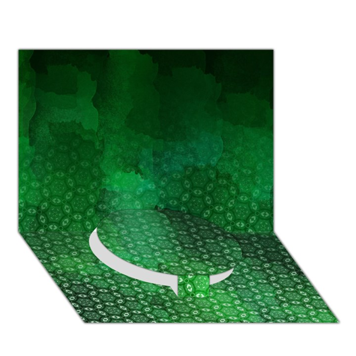 Ombre Green Abstract Forest Circle Bottom 3D Greeting Card (7x5)