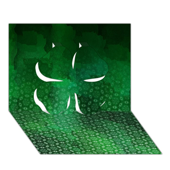 Ombre Green Abstract Forest Clover 3D Greeting Card (7x5)