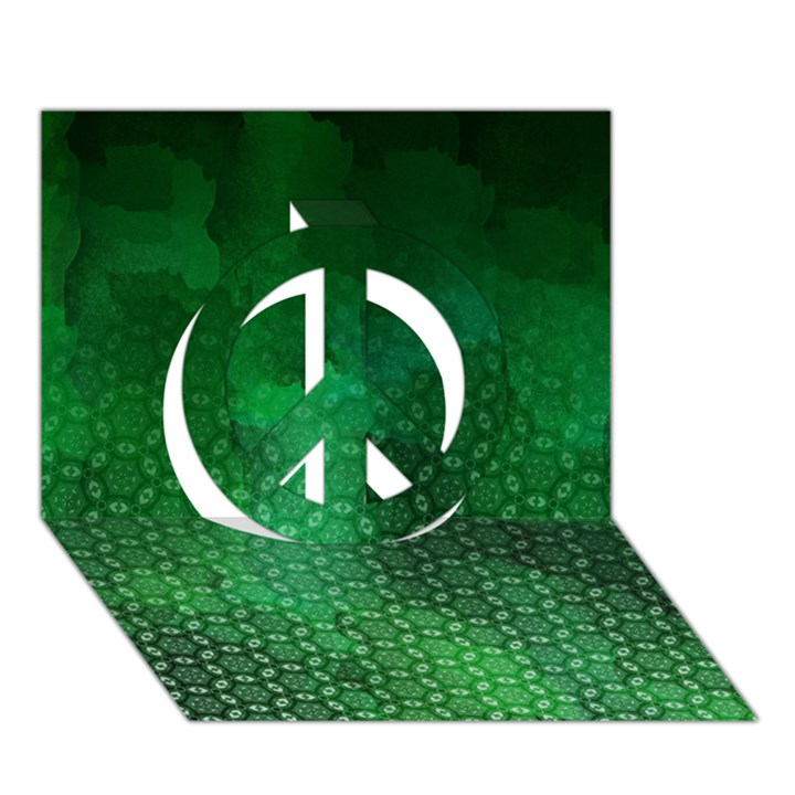 Ombre Green Abstract Forest Peace Sign 3D Greeting Card (7x5)