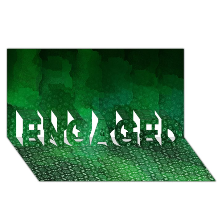 Ombre Green Abstract Forest ENGAGED 3D Greeting Card (8x4)