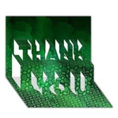 Ombre Green Abstract Forest Thank You 3d Greeting Card (7x5) by DanaeStudio