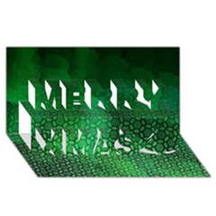 Ombre Green Abstract Forest Merry Xmas 3d Greeting Card (8x4) by DanaeStudio
