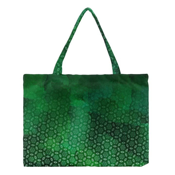 Ombre Green Abstract Forest Medium Tote Bag