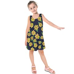 Daisy Flower Pattern For Summer Kids  Sleeveless Dress