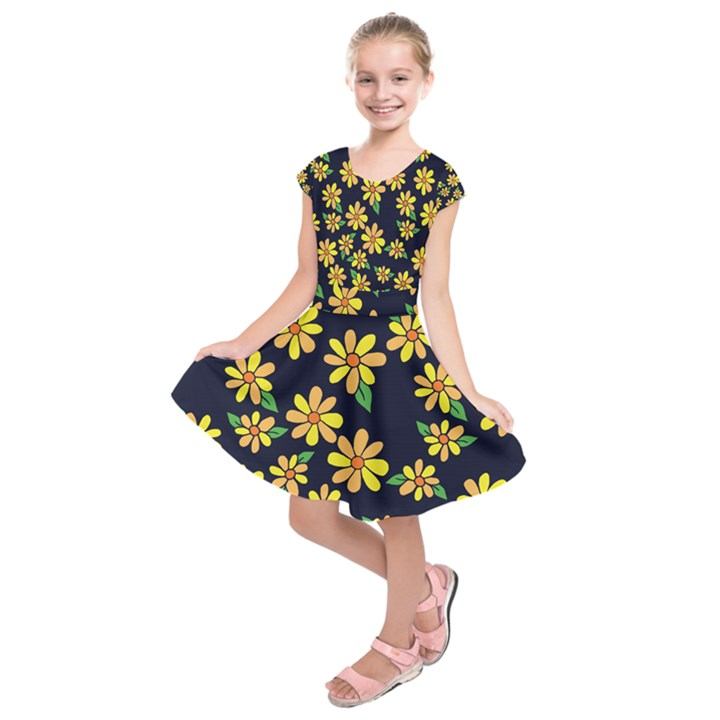 Daisy Flower Pattern For Summer Kids  Short Sleeve Dress