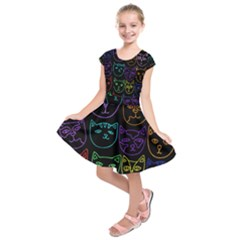 Retro Rainbow Cats  Kids  Short Sleeve Dress