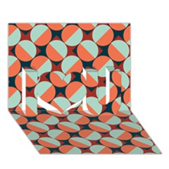 Modernist Geometric Tiles I Love You 3d Greeting Card (7x5) by DanaeStudio