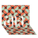 Modernist Geometric Tiles GIRL 3D Greeting Card (7x5)