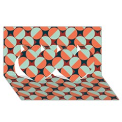 Modernist Geometric Tiles Twin Hearts 3d Greeting Card (8x4)