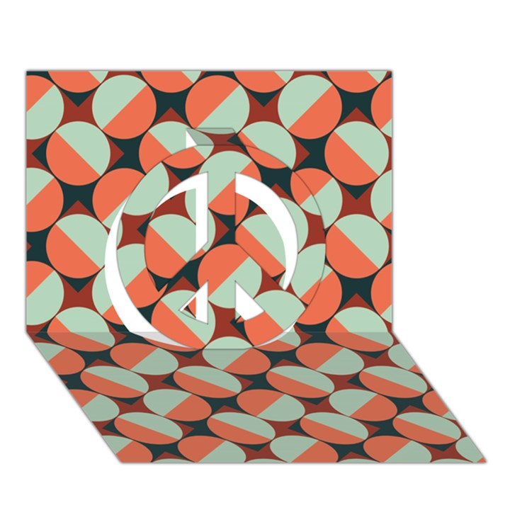 Modernist Geometric Tiles Peace Sign 3D Greeting Card (7x5)