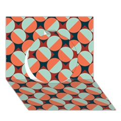 Modernist Geometric Tiles Circle 3d Greeting Card (7x5) by DanaeStudio