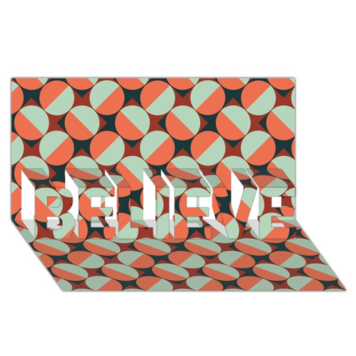 Modernist Geometric Tiles BELIEVE 3D Greeting Card (8x4)
