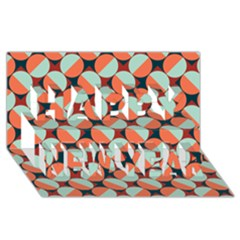 Modernist Geometric Tiles Happy New Year 3d Greeting Card (8x4) by DanaeStudio