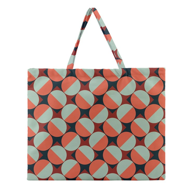 Modernist Geometric Tiles Zipper Large Tote Bag