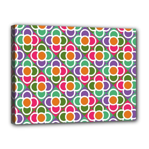 Modernist Floral Tiles Canvas 16  X 12