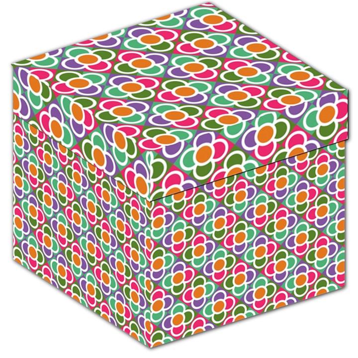 Modernist Floral Tiles Storage Stool 12