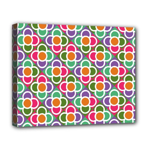 Modernist Floral Tiles Deluxe Canvas 20  X 16   by DanaeStudio