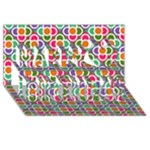 Modernist Floral Tiles Happy Birthday 3D Greeting Card (8x4)