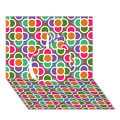 Modernist Floral Tiles Apple 3d Greeting Card (7x5) by DanaeStudio
