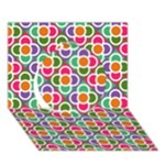 Modernist Floral Tiles Circle 3D Greeting Card (7x5)