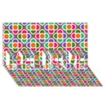 Modernist Floral Tiles BELIEVE 3D Greeting Card (8x4)