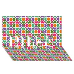 Modernist Floral Tiles Hugs 3d Greeting Card (8x4) by DanaeStudio