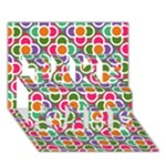 Modernist Floral Tiles TAKE CARE 3D Greeting Card (7x5)
