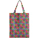 Modernist Floral Tiles Zipper Classic Tote Bag