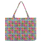 Modernist Floral Tiles Medium Zipper Tote Bag