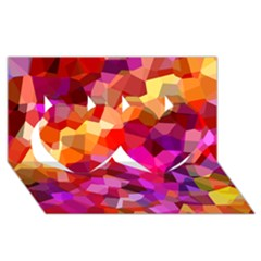 Geometric Fall Pattern Twin Hearts 3d Greeting Card (8x4) by DanaeStudio